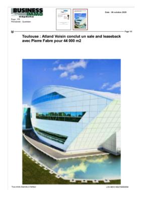 Business Immo : Atland Voisin conclue un Sales and Leaseback avec Pierre Fabre pour 44.000 m2