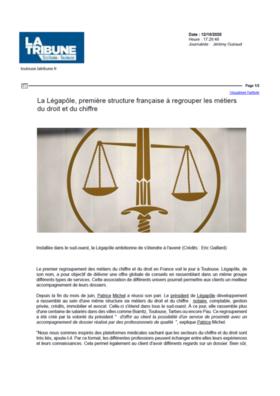 La Tribune : Legapole Première structure française à regrouper les métiers du droit et du chiffre